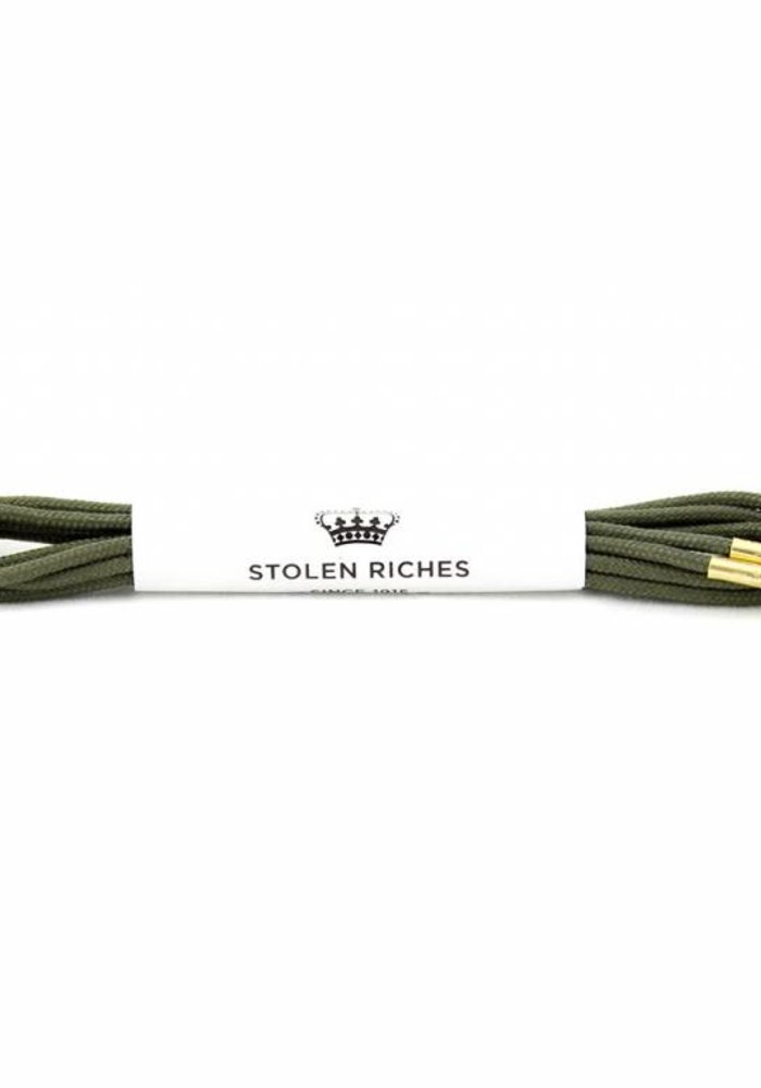 Stolen Riches - Olive Shoe Laces - Gold Tips