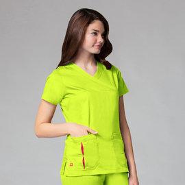 Maevn Women's PrimaFlex Pleated Pocket Mock Wrap Top 1712