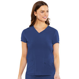Med Couture Med Couture Energy Women's Knit Back Solid Scrub Top 8478