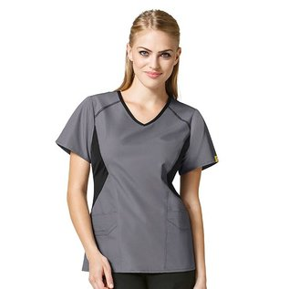 WonderWink Clearance - Women's Origins India Sporty Angled-Side V-Neck Top 6196