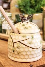 Hand-Painted Stoneware Honey Jar