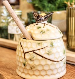 Hand-Painted Stoneware Honey Jar