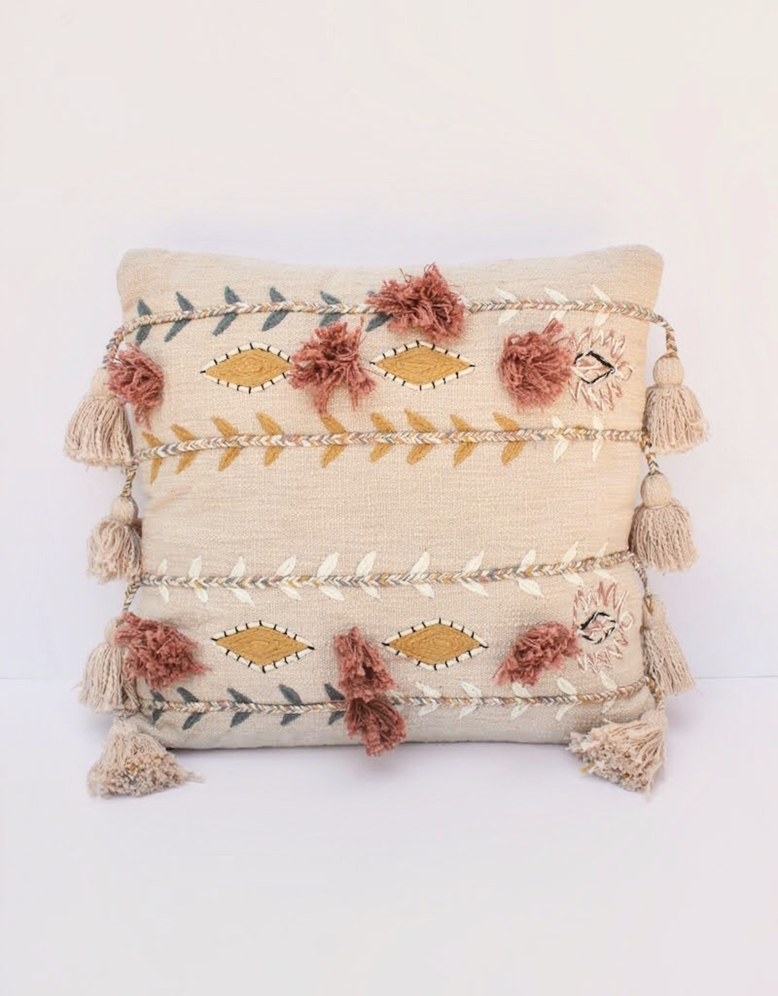Pink Cotton Embroidered Pillow