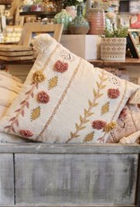 Cream Cotton Embroidered Pillow