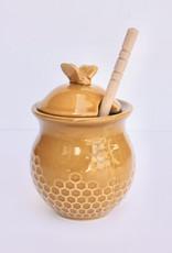 Ceramic Honeycomb Honey Pot