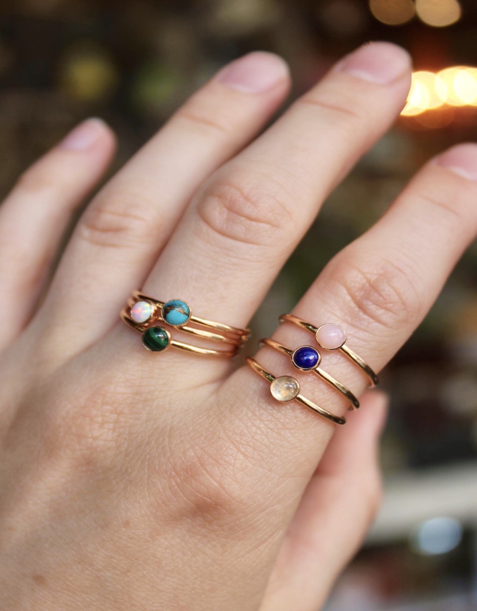 Mineral and Matter Pink Opal Stacking Ring