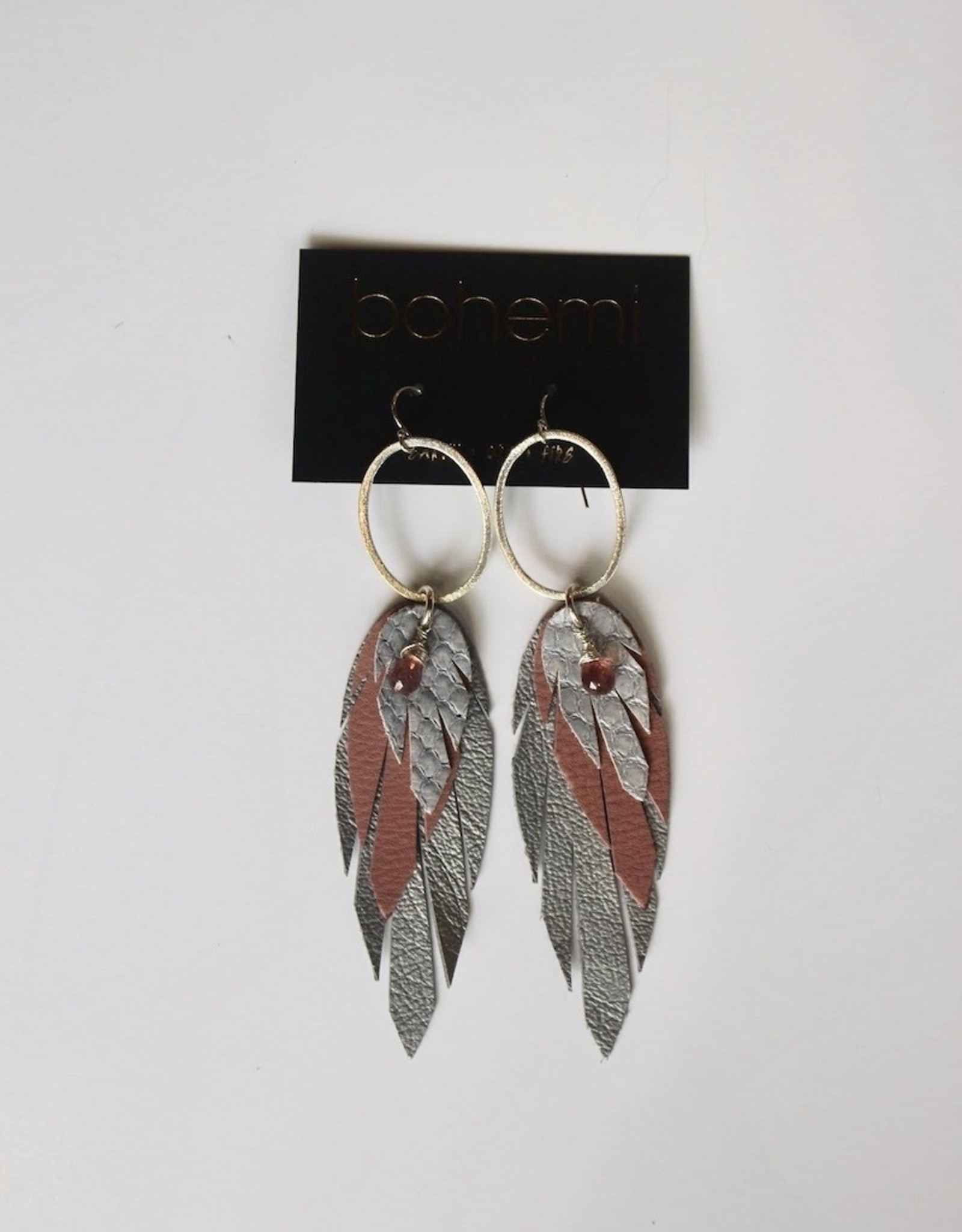 Bohemi Small Leather Feather Earrings