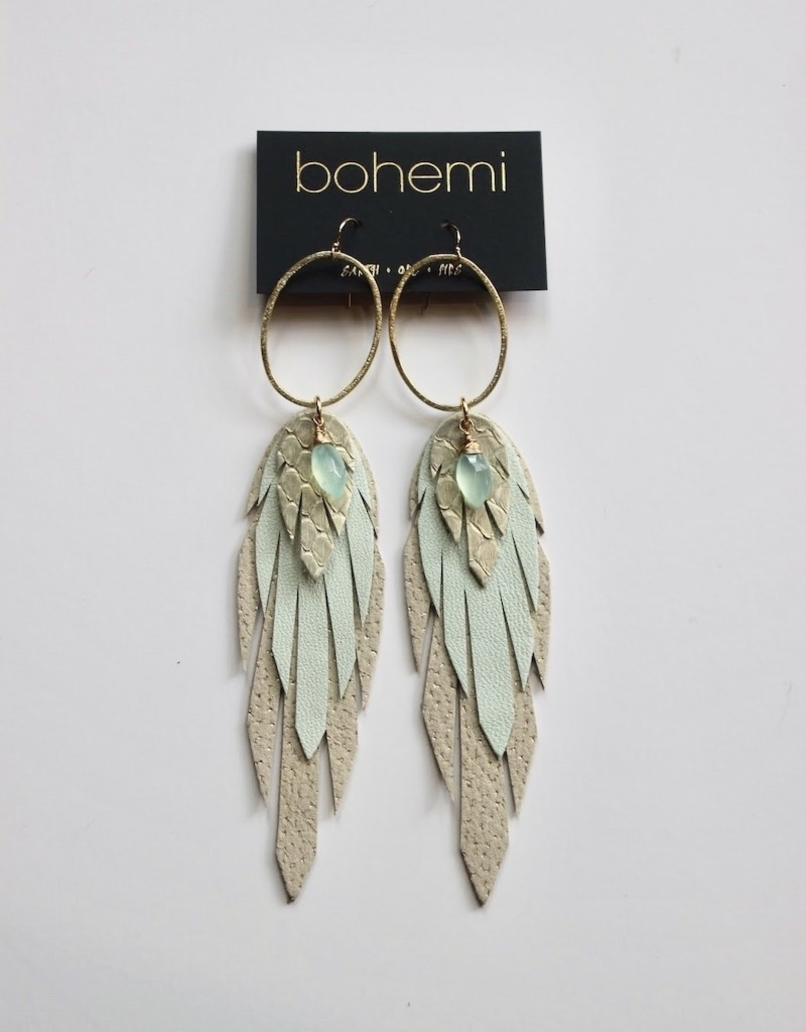 Bohemi Large Leather Feather Earrings