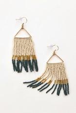 Peacock Citron Ivory Fringe Earrings