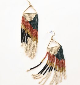 Peacock Rust Fringe Earrings