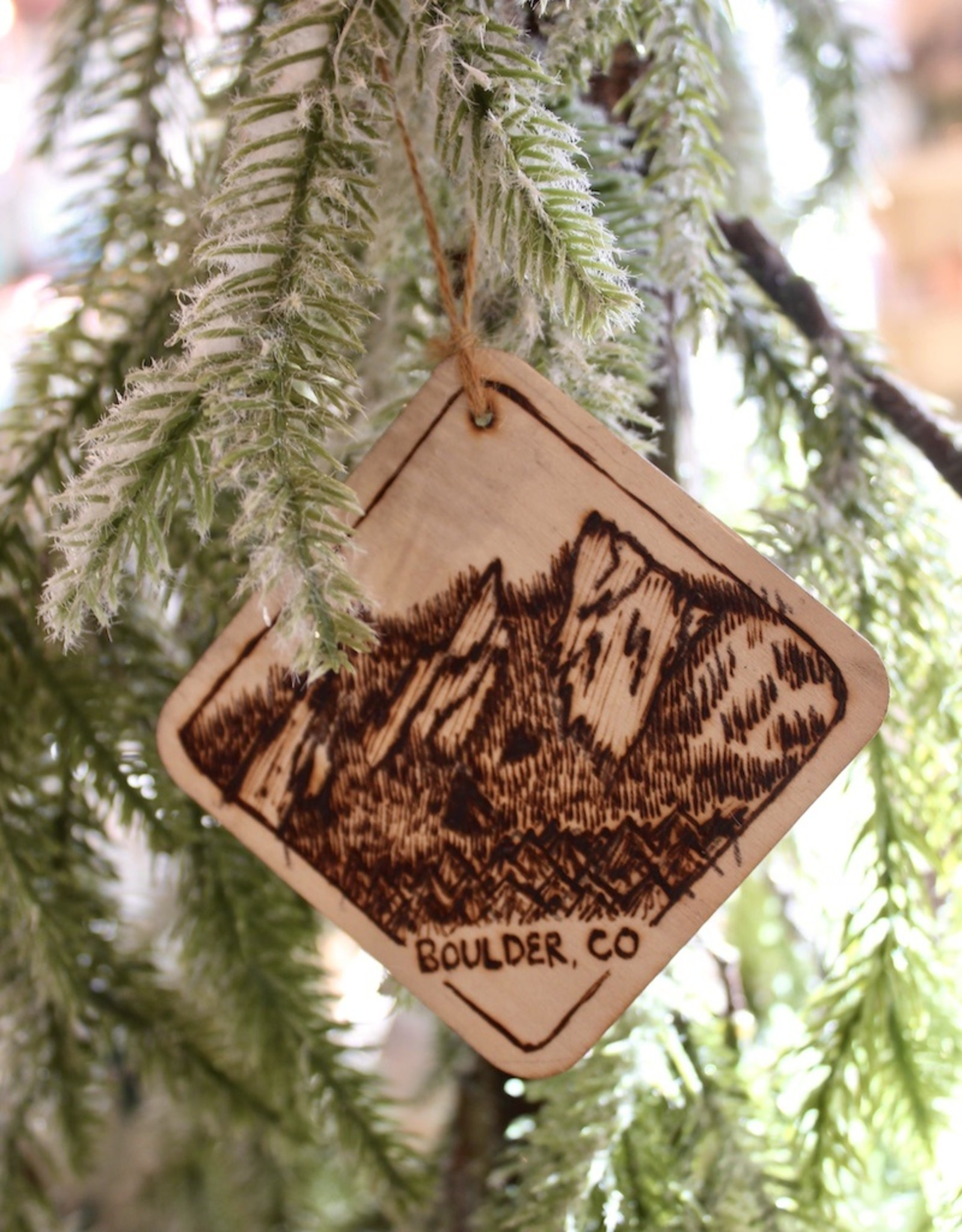 Frosted Wedge Flatirons Ornament