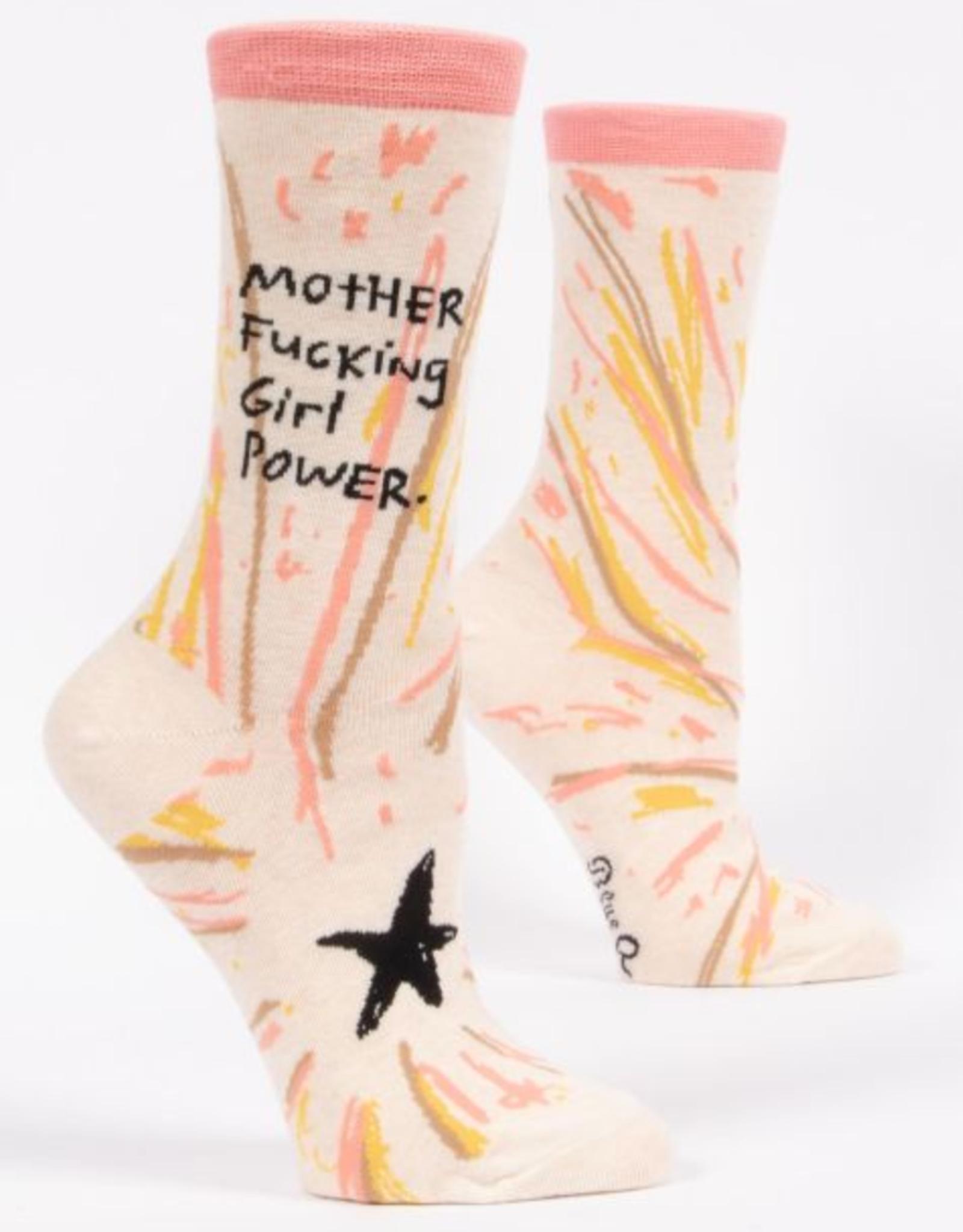 *explicit* Blue Q Womens Crew Socks Mother Fucking Girl Power