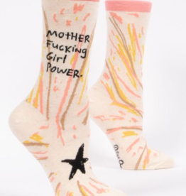 *explicit* Blue Q Womens Crew Socks Mother Fucking Girl Power