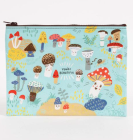 Blue Q Zipper Pouch Cute Lil' Mushrooms