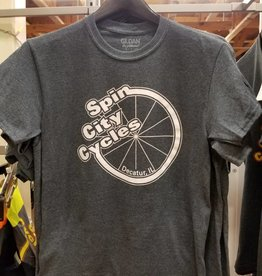 Spin City Cycles T-shirt SCC, Dark Heather, White Logo
