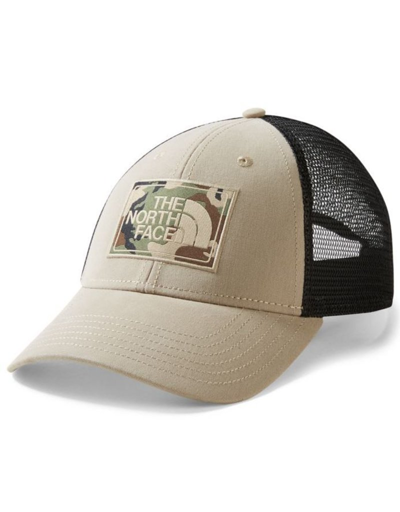 The North Face Hat TNF Mudder Trucker: Dune Beige/Burnt Olive Green Camo OS