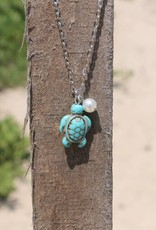 Howlite Sea Turtle with Pearl Necklace