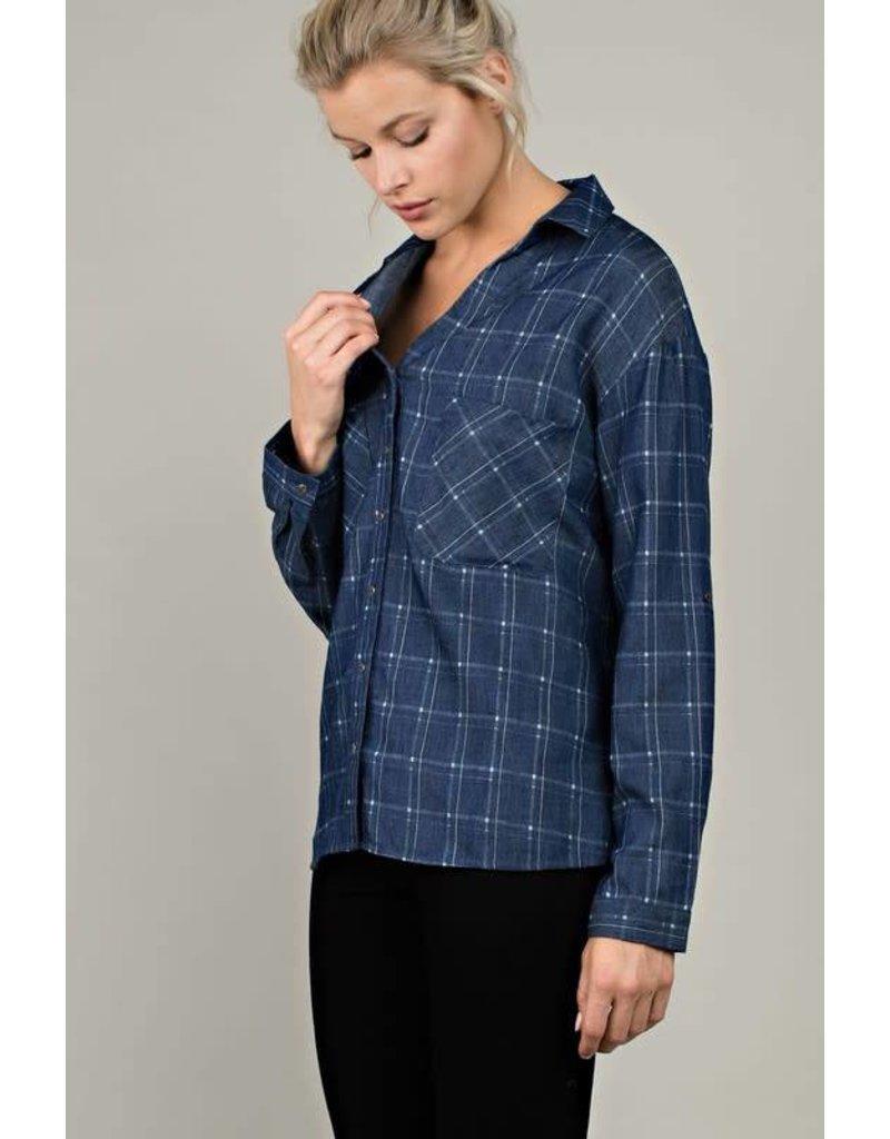Denim Patterned Long Sleeve Shirt