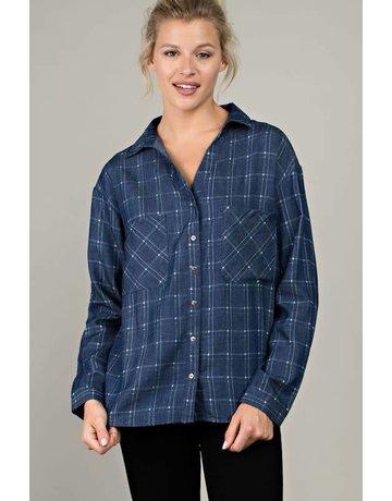 L Love Denim Patterned Long Sleeve Shirt