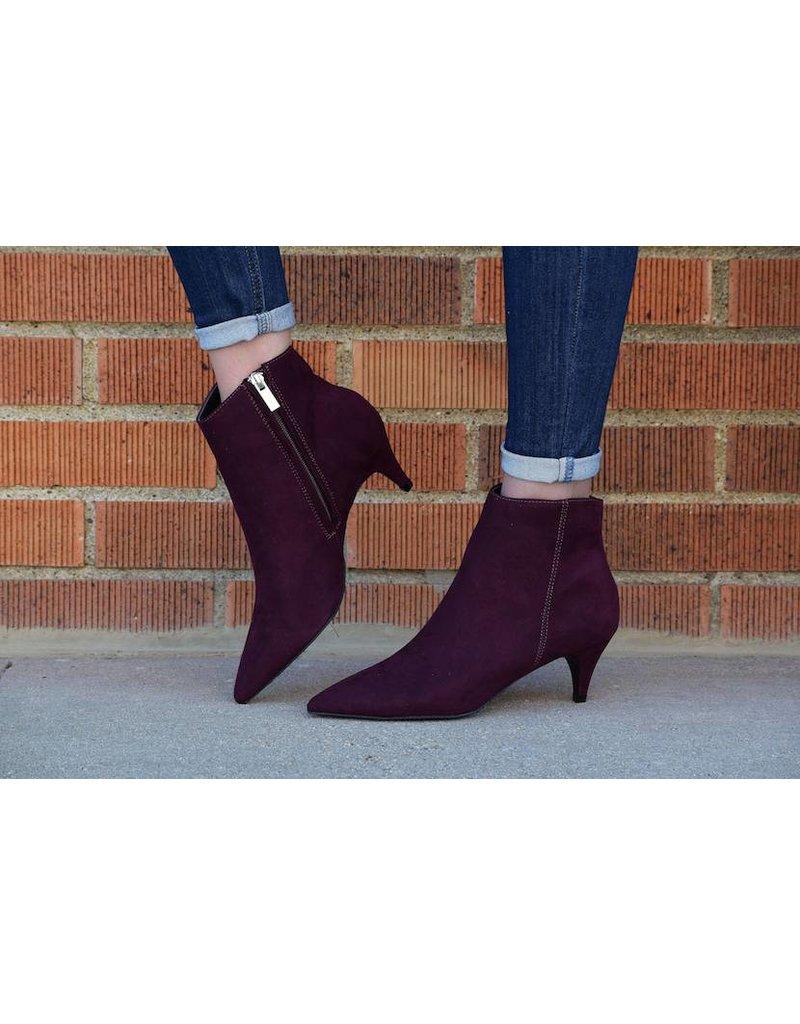 Wine Suede Ankle Heel Bootie - Boutique 23