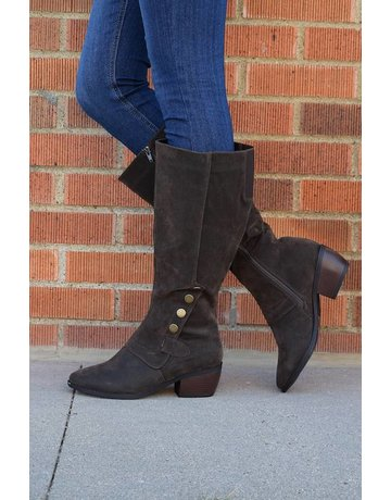 Olem Tall Heeled Bootie With Button Detail