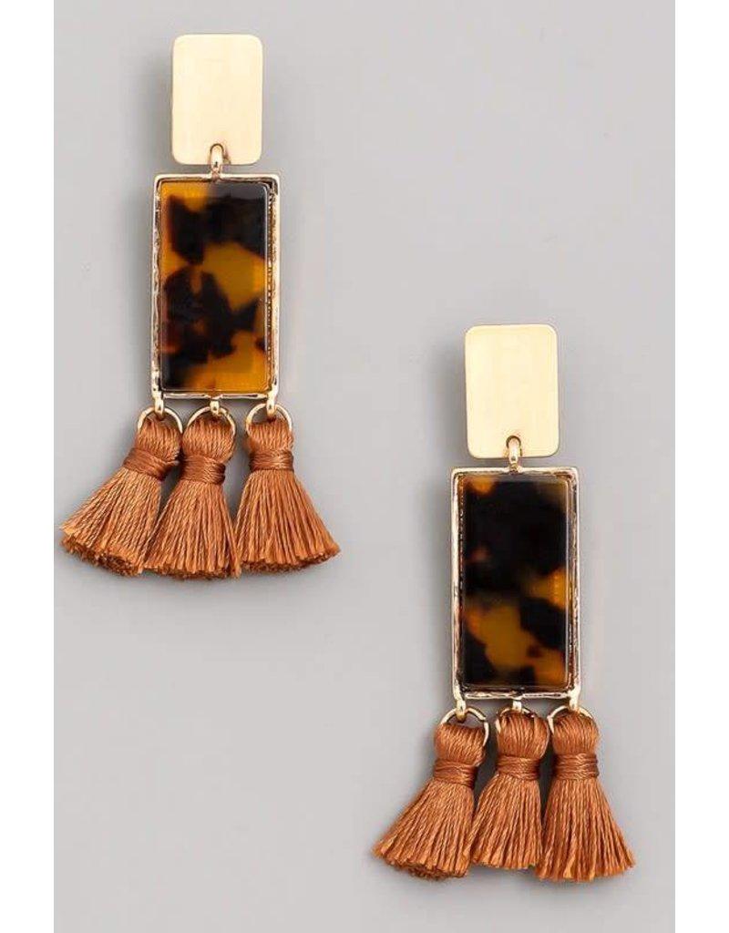 Acetate Rectangle Tassel Drop Earrings