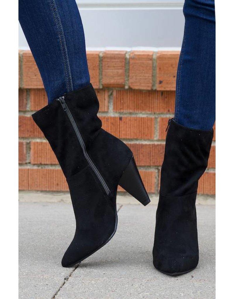 Black Suede Mid Calf Boot - Boutique 23