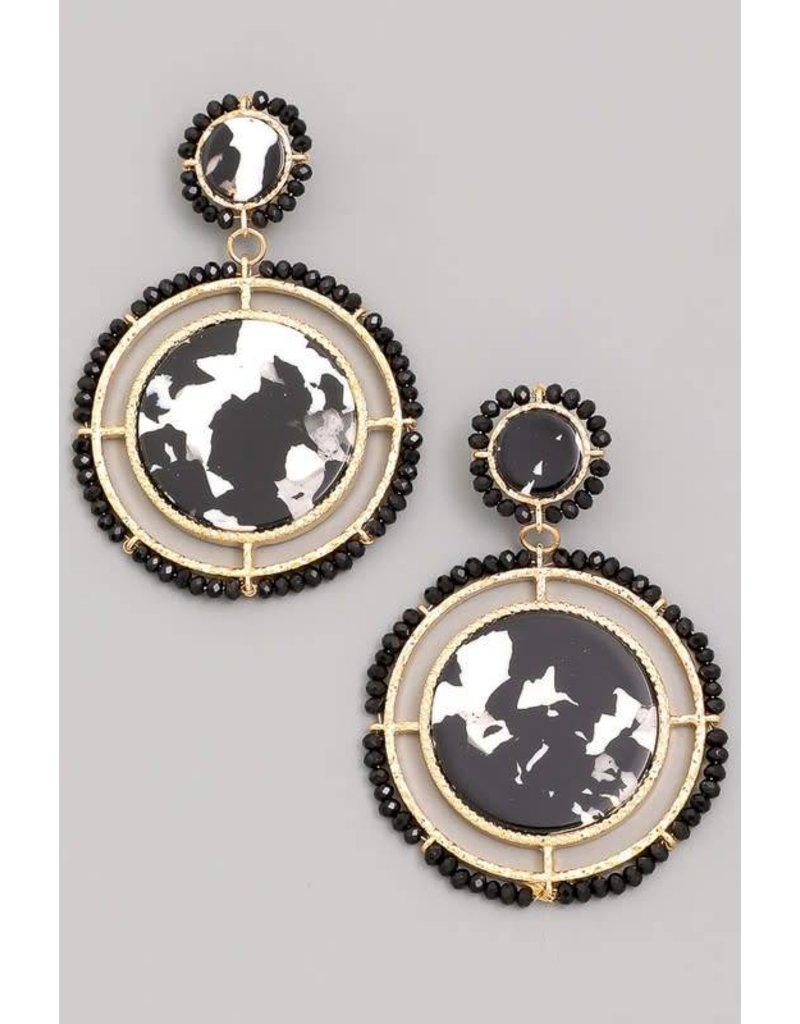 Acetate Disc Circle Hoop Drop Earrings