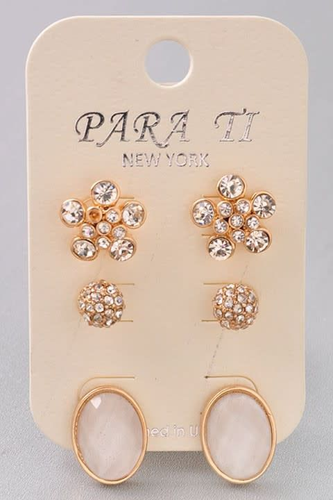 3 Stud Earring Set