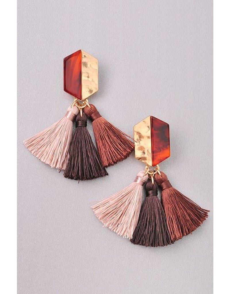 3 Tassle Stud Earring
