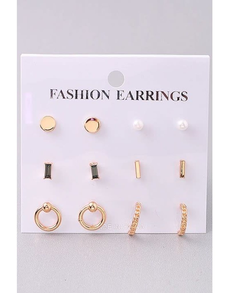 6 Stud Earring Set
