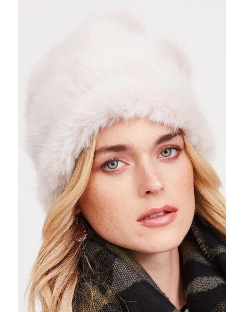 Faux Fur Beanie w/Pom Pom Hat