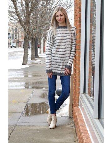 Stripe Crew Neck Long Sleeve Sweater