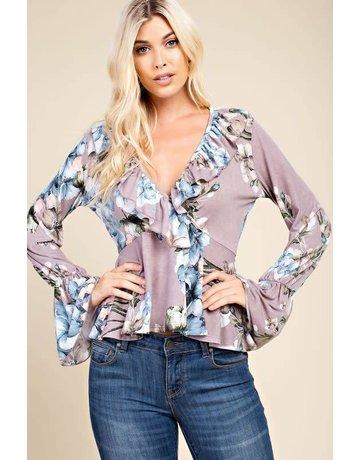 143 Story Purple Floral Print V-Neck w/ Ruffle