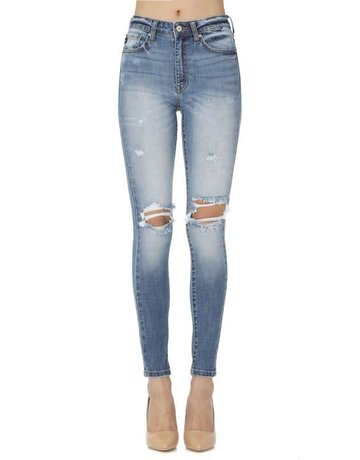 High Rise Distressed Knee Super Skinny