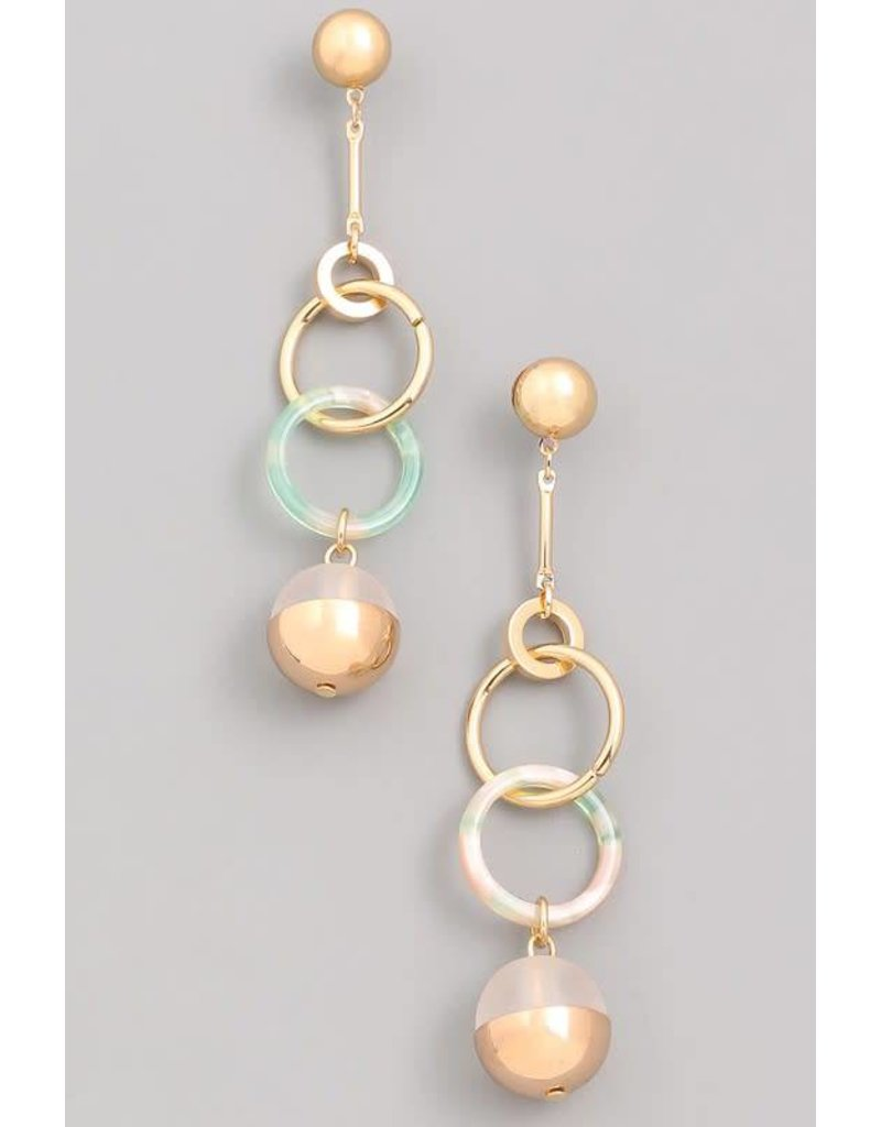 Linked Loop Sphere Dangle Stud Earrings