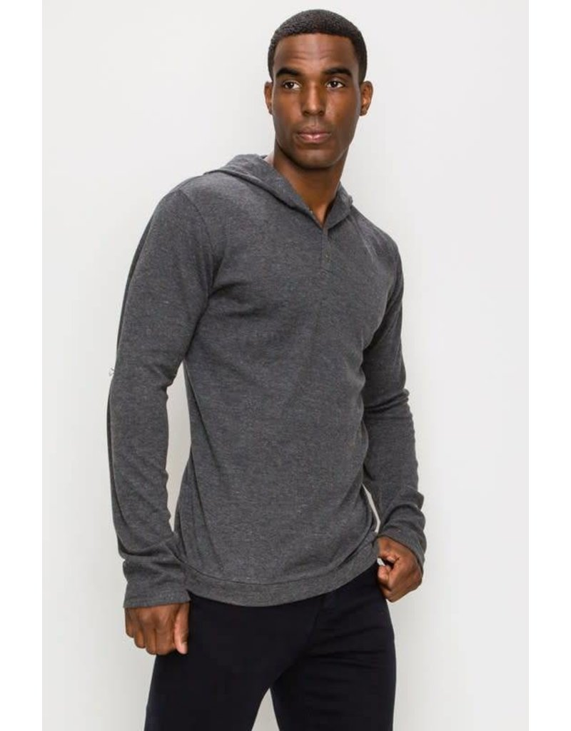 Long Sleeve Henley Hooded Top w/ Buttons