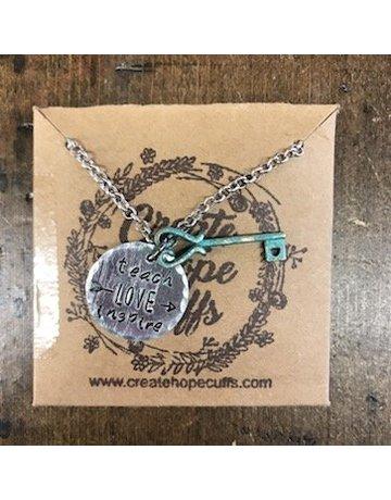 Create Hope Design Teach Live Inspire Necklace w/ Key