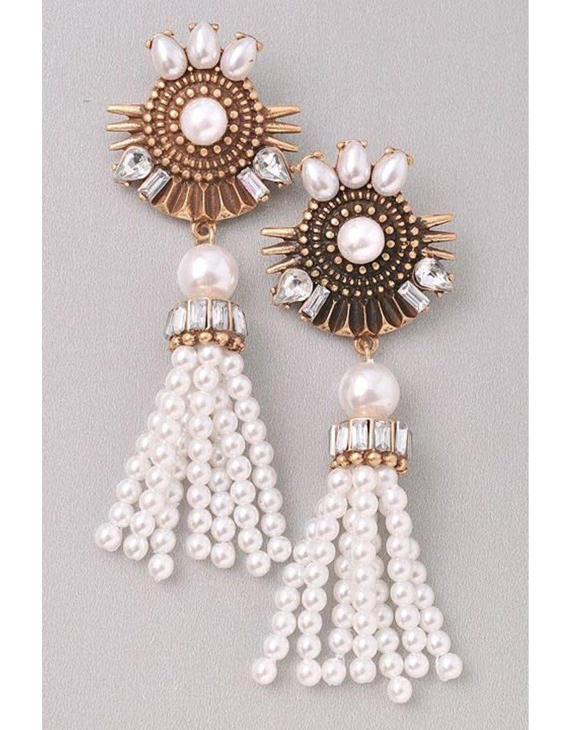 Pearl Dangle Diamond Earring