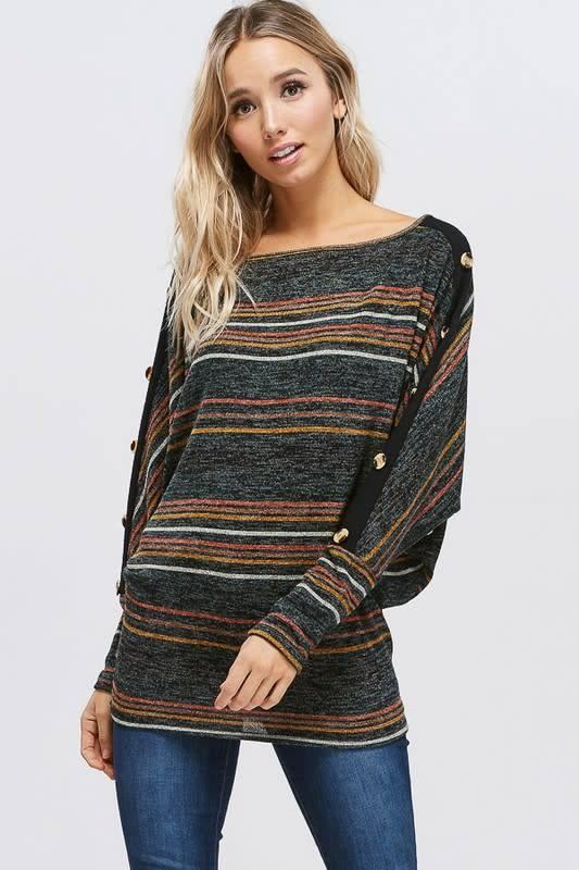 58de7a771 Boat Neck Button Trim Knit Striped Sweater - Boutique 23