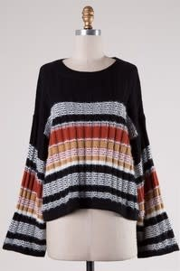 Striped Sweater With Bell Sleeve