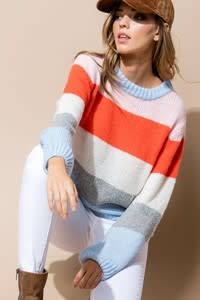 Multi Color Long Sleeve Casual Sweater