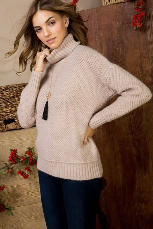 Solid Cable Knit Turtle Neck Sweater