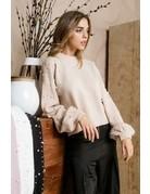 Pearl Embellished Sleeve Sweater