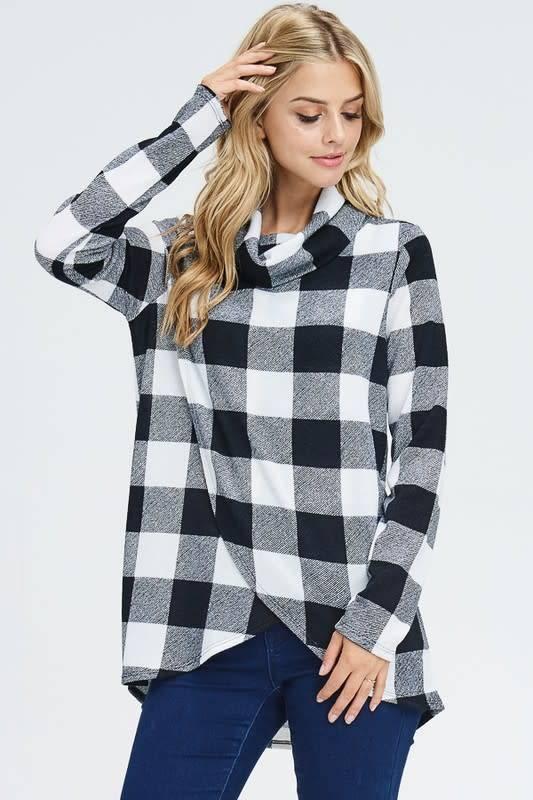 Split Front Plaid Cowl Neck Sweater