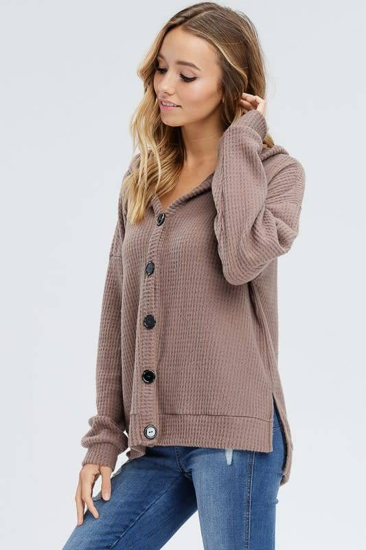 Button Down Thermal Knit Hoodie