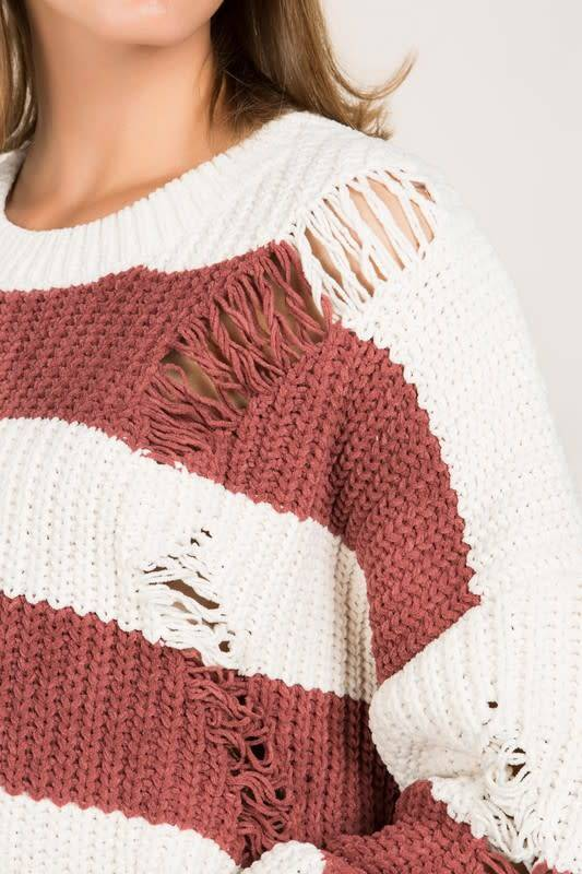 Distressed Chenille Pullover Sweater