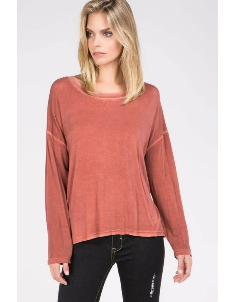 Wide Neck Long Sleeve Casual Top