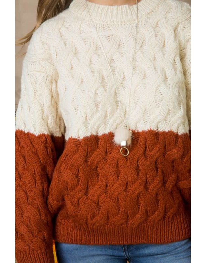 Cable Knit Color Block L/S Sweater