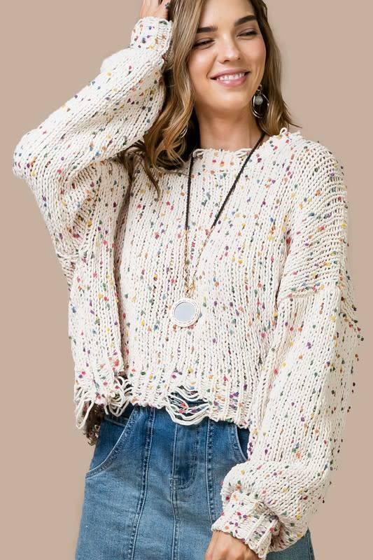 Multi Polka Dot Distressed Sweater